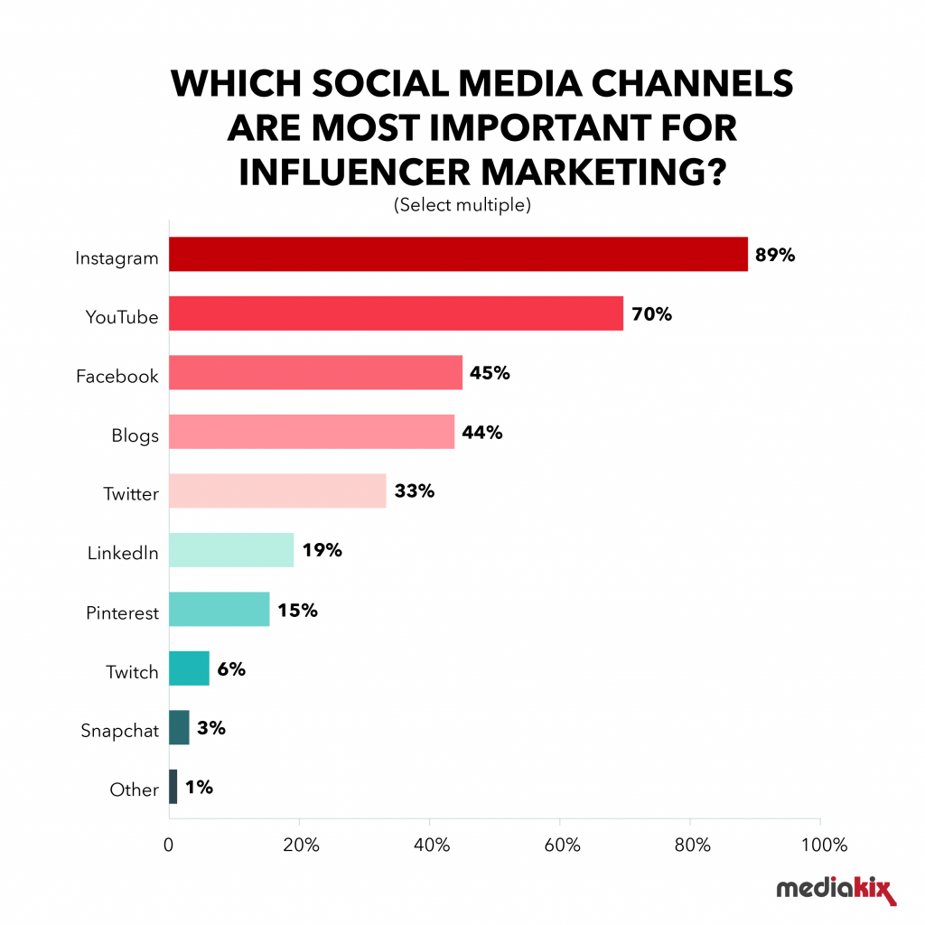 social media wybierane przez influencerów